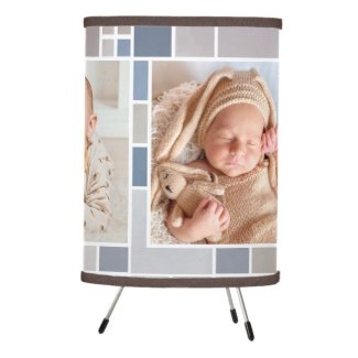 Photo grid watercolor checkered pattern personalized lamp