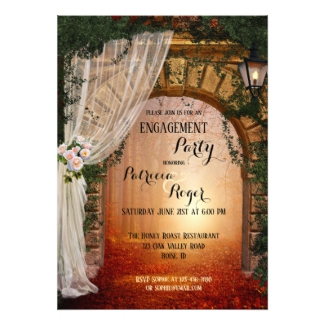 Romantic enchanted forest engagement party invitation - engagement party invitations