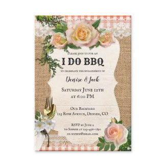 Romantic roses I DO BBQ engagement party invitation