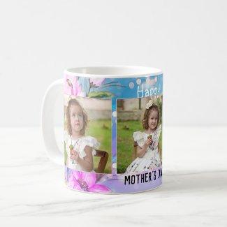 Trendy floral design personalized photo mug