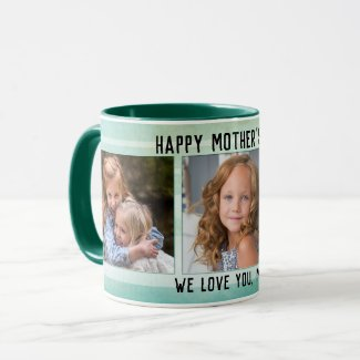 Custom photo green watercolor striped personalized Mother's Day mug - Mother's Day Gifts