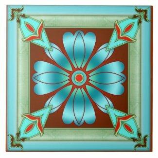 Artistic turquoise floral design kitchen or bathroom tile