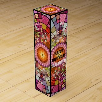 Colorful festive fine art mandala birthday wine gift box