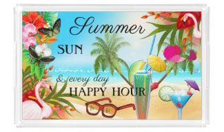 Festive colorful summer tropical beach serving tray - personalized summer gift