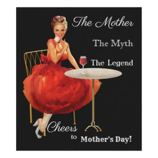 Funny vintage pin-up Mother's Day personalized wine label