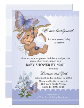Butterfly teddy bear baby shower by mail invitation