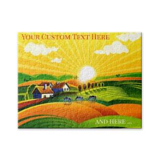 Coloful retro farm summer landscape puzzle