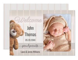 Cute bear baby photo birth announcement card