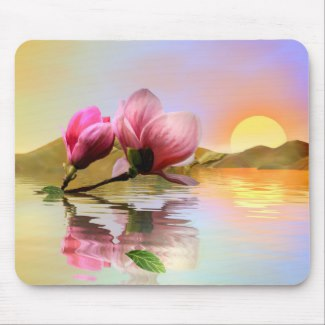 Floating magnolia flower fine art mouse pad - personalized summer gifts