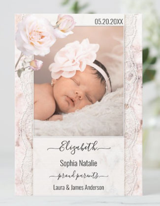 Marble lace pink roses baby girl photo birth announcement