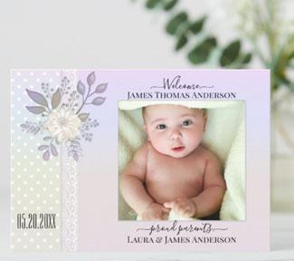 Retro pastel script baby photo birth announcement card
