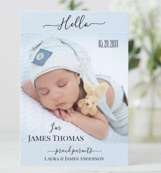 Simple script baby boy photo birth announcement card