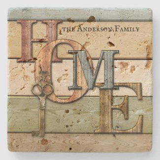 Wood letters home key rustic coaster