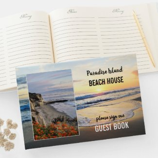 beach house personalized photo guest book