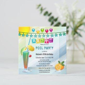 Festive watercolor summer pool party invitation