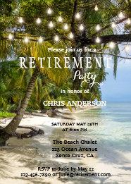 Tropical beach string lights retirement invitation