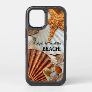 Beach life shells and starfish phone case