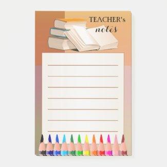 Books pencils colorful teacher post-it notes