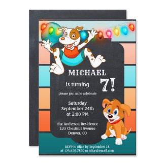 Colorful chalkboard dog child birthday invitation