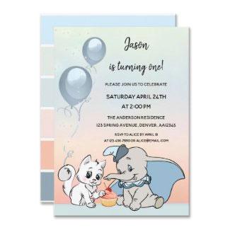 Cute animals pastel first birthday party invitation
