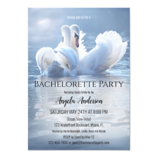Dreamy swan lake bachelorette party invitation