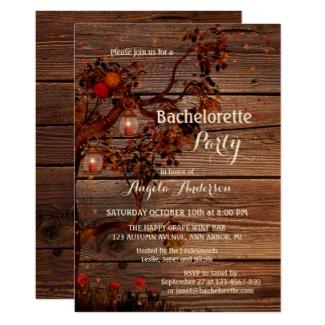 Rustic autumn tree bachelorette party invitation