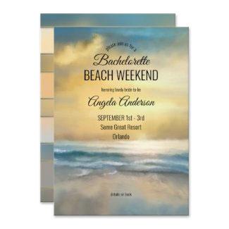 Bachelorette beach weekend getaway itinerary invitation