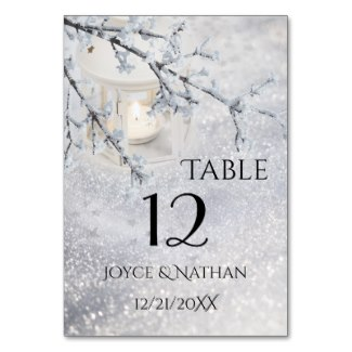 Winter wedding or Christmas Table Number Card
