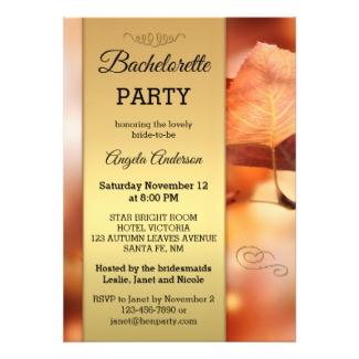 Fall leaves gold elegant bachelorette party invitation
