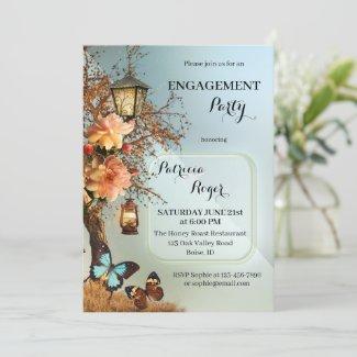 Geometric design enchanted garden engagement party invitation