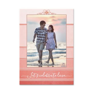 Photo tone on tone coral engagement party invitation