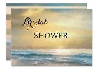 Fine art seaside ocean view bridal shower invitation