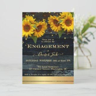 Sunflower sparkling lights engagement party invitation