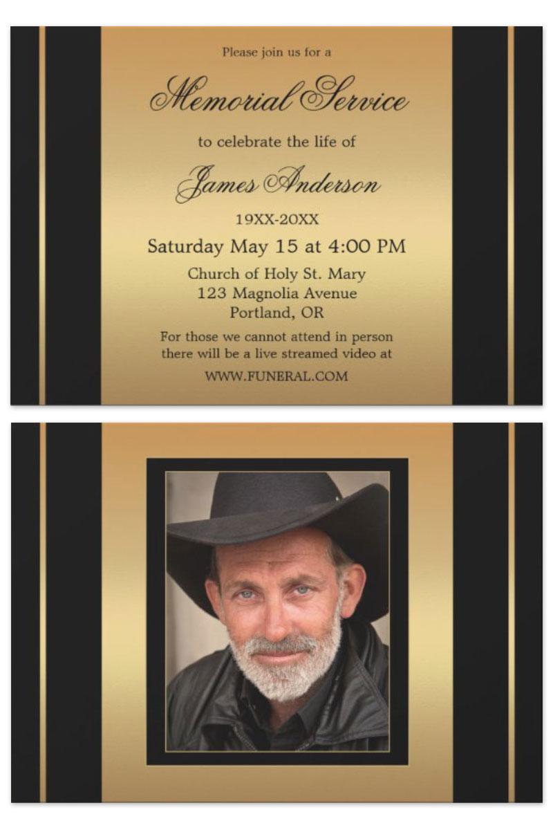 Black and gold photo memorial service invitation