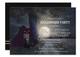 Full moon black cat scary halloween invitation