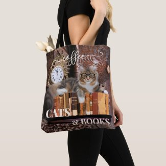 Funny coffee cat and books tote bag - gift for cat lovers