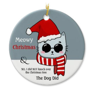 Funny cat meowy Christmas ornament