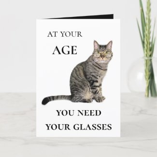 Funny cat and wine birthday greeting card