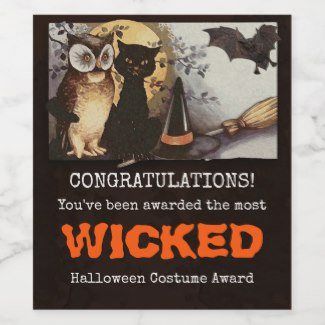 Funny cat Halloween costume award wine label