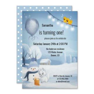 Watercolor winter cute cat birthday invitation for children