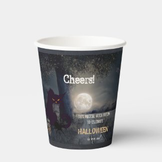 Witch brew funny cat Halloween paper cup